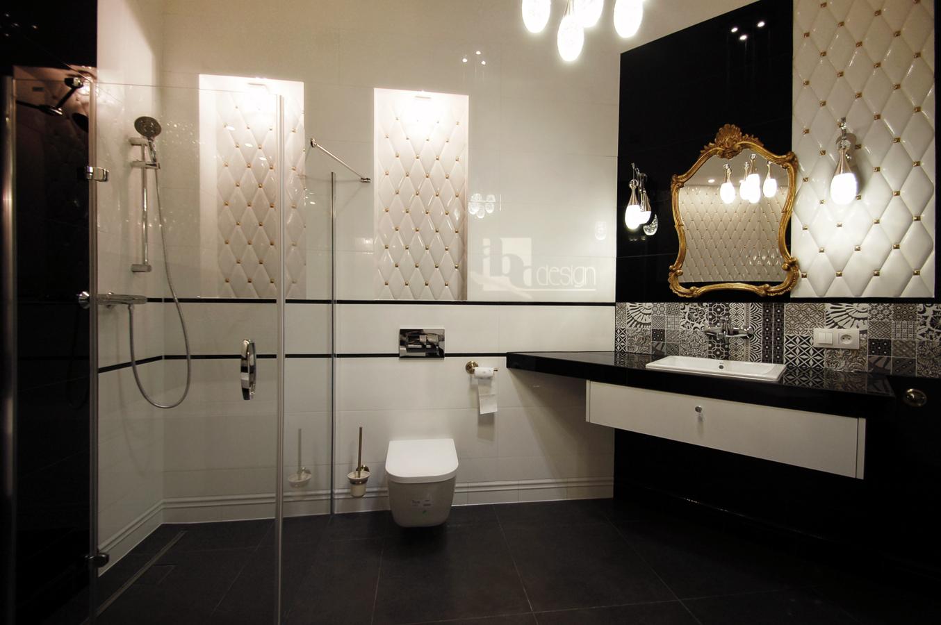 łazienka pikowanymi płytkami w stylu GLAMOUR