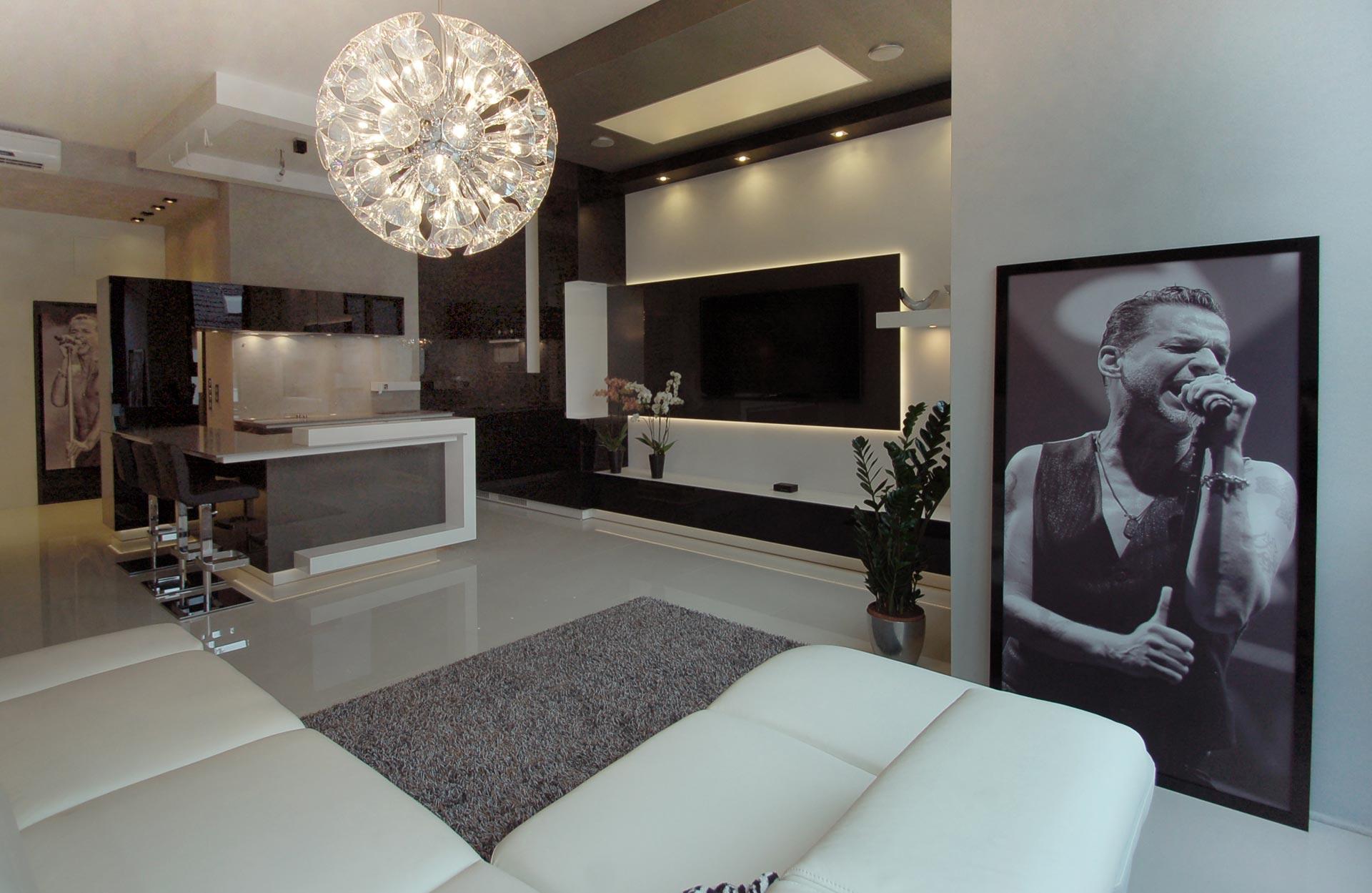 nowoczesny projekt kuchni i salonu